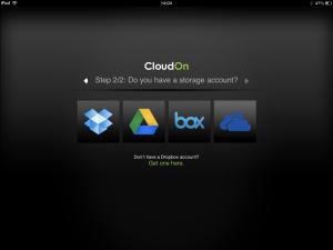 Als je Cloudon opstart is dit het eerste wat je ziet. Je kiest je favoriete cloudopslagplek en logt daarop in. Daarna kun je die bestanden openen en bewerken.